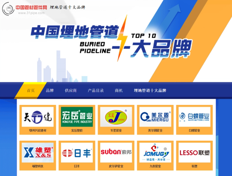 Our company was selected as one of the top ten brands of Chinas 2015 buried pipelines.